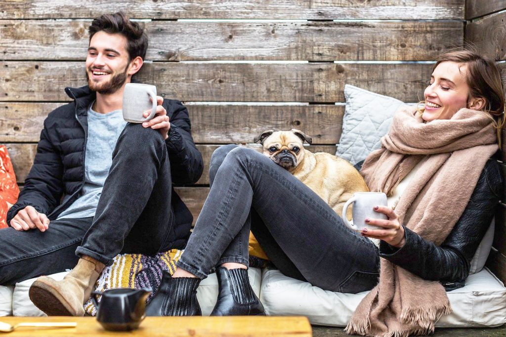 Home buyers waiting and drinking coffee